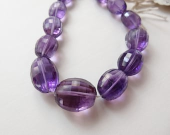 "Beautiful Deep color Purple Amethyst Checkerboard Faceted Ovals 18"" strand N2434"