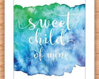 Sweet Child Printable BLUE
