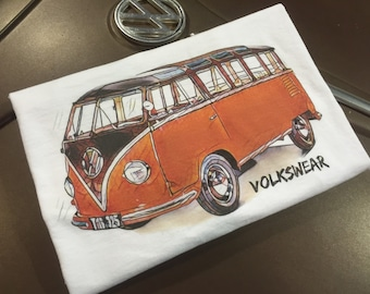Classic Volkswagen 23 window T-shirt.  Full front print on a 100% cotton preshrunk Tee. White shirt, full color print.