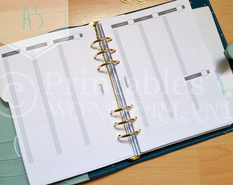 A5 week on 2 pages hourly planner inserts instant download - Weekly view hourly vertical layout printable planner inserts