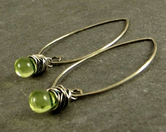 Lime Green Teardrop Earrings, Eco Friendly Jewelry Gifts for Her Gifts Under 20 Wire Wrapped Jewelry