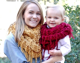 Adult Fringed Cowl Scarf