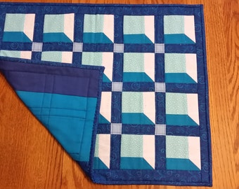 Shades of blue table topper or mini quilt