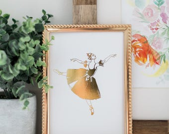 Gold Foil Ballerina Print 8x10 or 5x7  (Ballet Art Print - Ballet Decor - Dance Artwork - Gold Foil Print - Nursery Art)