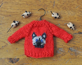 Siamese Cat Hand-Knit Sweater Ornament