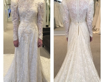 Victorian Wedding Gown Victorian Wedding Dress Sequined Wedding Gown Ivory Sequined Wedding Gown Beaded Wedding Gown Extra Long Train XS/S