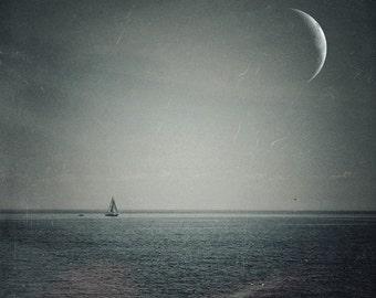 crescent moon photo PRINT, surreal landscape, lake home decor, sailboat night sky, texture, navy blue, Ontario, boat sailing, large wall art
