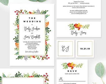 Wedding Suite Template Set - Autumn Blooms Fall Wedding Invitation - Printable Instant Download #AUC