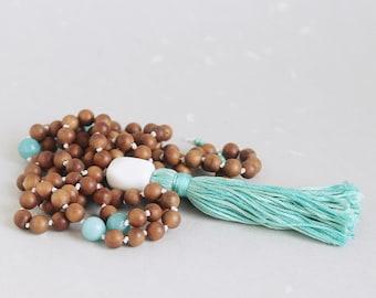 Fragrant Sandalwood, Amazonite, Aqua Handmade Tassel 108 bead knotted mala necklace