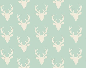 NEW Art Gallery Buck Forest mint on cotton Lycra  knit fabric 1 yard.