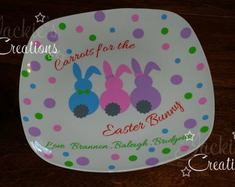 Carrots for the Easter Bunny Personalized Plate