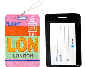 ICONA Embroidered Luggage Tag / ID holder - Bon Voyage Tag LON