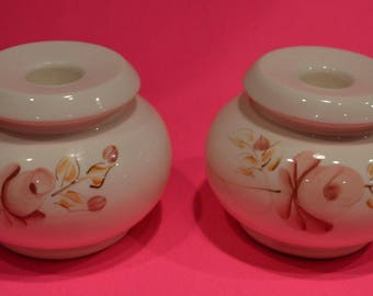 """Lasting Products, Inc.~Hand Painted Rose Taper Candle Holders~3 1/4"""" Tall~So Pretty!"""