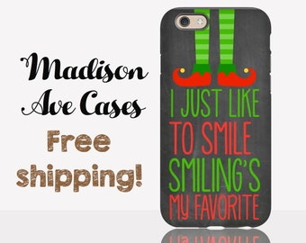 Phone Case Buddy The Elf Christmas Holiday I Just Like To Smile Smiling's My Favorite Quote Movie Winter Girlfriend Chalkboard iPhone Tough