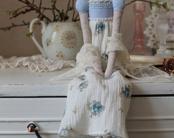 Jane Austen gifts Tilda doll Shabby Chic Cloth doll French country Regency doll English cottage doll  Pride and prejudice gift Textile doll