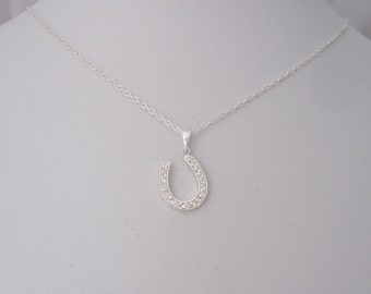 Lucky Horse shoe with CZ stones sterling silver charm necklace, dainty good luck necklace
