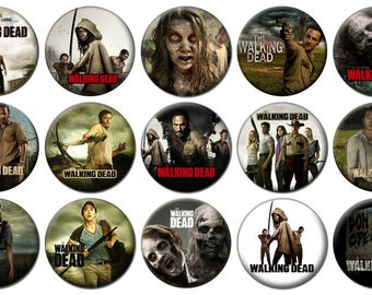 """2-1/4"""" - WALKING DEAD -  Lot of 15 Buttons - Pin Back Button Badge"""