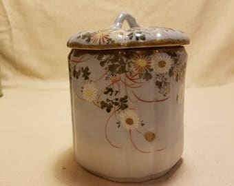 Vintage Porcelain Biscuit Jar / Cookie Jar Hand Painted