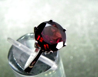 AAAA Red Pyrope Garnet Round Natural and untreated   10mm  3.60 Carats   in 14K White gold ring. MMM