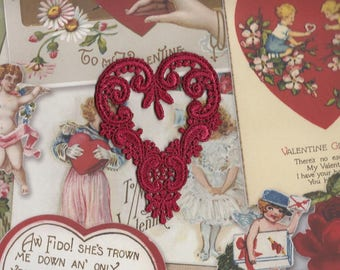 Hand Dyed Venise Lace Applique Victorian Heart Valentine Red