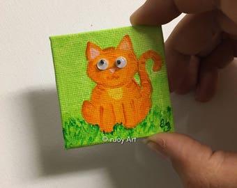 Orange googly eyed Cat magnet-  2x2  Mini acrylic Painting
