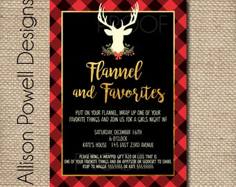 Flannel and Favorite Things Gift Exchange Invitation - Girls Christmas Party - DIY or Printed