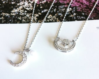Dainty moon / stars necklace in silver