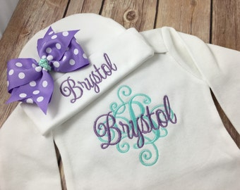 Personalized Coming Home Outfit, Monogram purple aqua Baby Gown Hat, Newborn Girl Outfit, Baby Girl Coming Home Outfit, Personalize