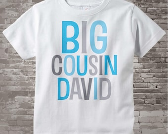 Big Cousin Shirt or Onesie, Personalized Big CousinShirt, Blue and Grey Text Infant, Toddler or Youth sizes t-shirt 12182013c