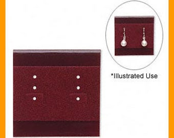 100pcs Velour Earring Card Burgundy Large 2x2 Inches With 3 Holes