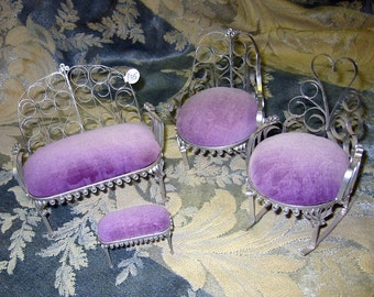 Tramp Art Tin Can Doll Furniture Set Lavender and Silver