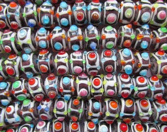 """Glass Lampwork Multi-color Beads Strand 8 1/2"""" Strand Approx 12mm X 7mm #EB16"""