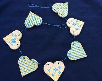 Hand made Ceramic Heart Bunting