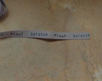 "Lavender Blue Ribbon with text ""splat - splash"", 10mm"