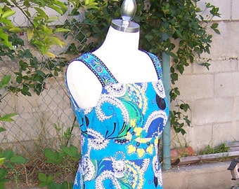 vintage 70s blue paisley w yellow lotus flowers abstract dress - 4