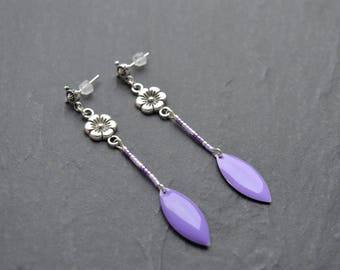 Designer epoxy navettes and Miyuki beads earrings lilac and purple