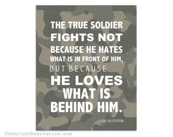 Military Art Print, Inspirational Quote Typography, GK Chesterton, soldier