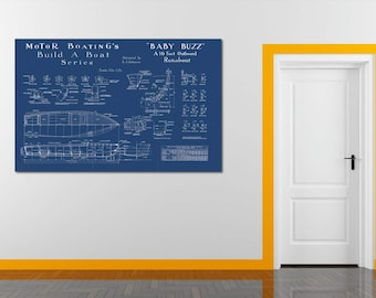 Print of Vintage BABY BUZZ Boat Blueprint from Motor Boating's Build a Boat Series on Your Choice of Matte Paper, Photo Paper, or Canvas
