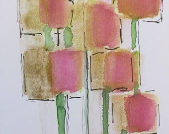 Original watercolor Watercolor Postcard image abstract Art