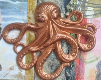 Large Steampunk Brass Octopus -Caramel Patina, Kraken, Steampunk Supplies, Made in the USA