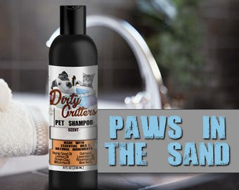 Paws in the Sand Herbal Pet Dog Cat Shampoo Wash Dirty Critters 8 ounce bottle