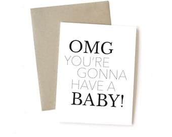 OMG...Baby || Greeting Card | Baby | Shower | Congrats | New Mom | New Dad | New Parents | Expecting | Black and White | Kraft