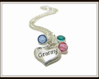 Granny Charm necklace personalized birthstone charm mothers day gift Granny jewelry Grandma Necklace Mothers Necklace Gifts Grandma