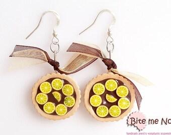 Food Jewelry Choco - Orange Tarts Hook Earrings, Mini Food, Polymer Clay Sweets, Miniature Food, Kawaii Jewelry, Polymer Clay Earrings