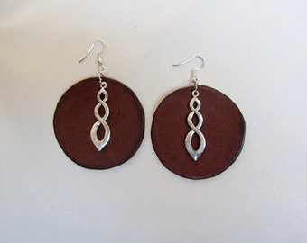 Leather earrings large red/brown