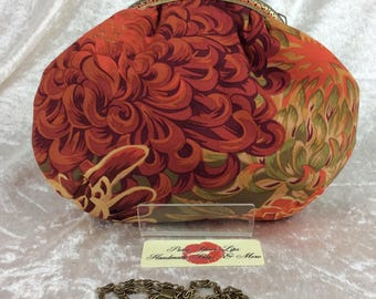 Chrysanthemums small frame handbag purse bag fabric clutch shoulder bag frame purse kiss clasp bag Handmade Kaffe Fassett Philip Jacobs