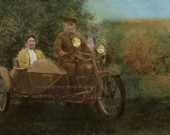 Antique Motorcycle - Side Car - Vintage - Photograph - Handcolored