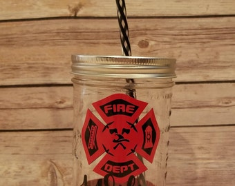 Fire Fighter Wife Glittered Mason Jar Tumbler