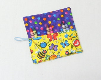 Crayon Roll Bug Fabric Crayon Roll Up  Party Favors  Birthday Gift Kids Party Favor 6 Crayons