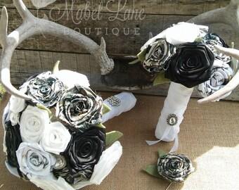 Camo Wedding Bouquet, Camo Bride Bouquet, Camo Bride Bouquet, Camo Flowers, Rustic Bride Bouquet, Camouflage Wedding Idea